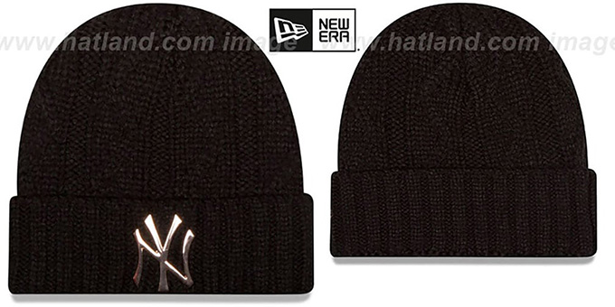 Yankees 'HARDWARE LOGO' Black Knit Beanie Hat by New Era : pictured without stickers that these products are shipped with