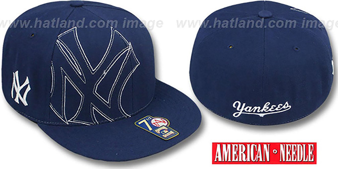 Yankees 'HEADSTRONG' Navy Fitted Hat by American Needle : pictured without stickers that these products are shipped with