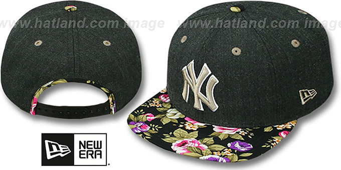 Yankees 'HEATHER BLOOM SNAPBACK' Charcoal-Black Hat by New Era : pictured without stickers that these products are shipped with