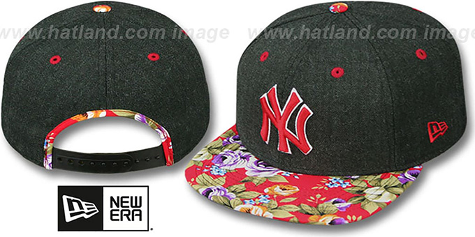Yankees 'HEATHER BLOOM SNAPBACK' Charcoal-Red Hat by New Era : pictured without stickers that these products are shipped with