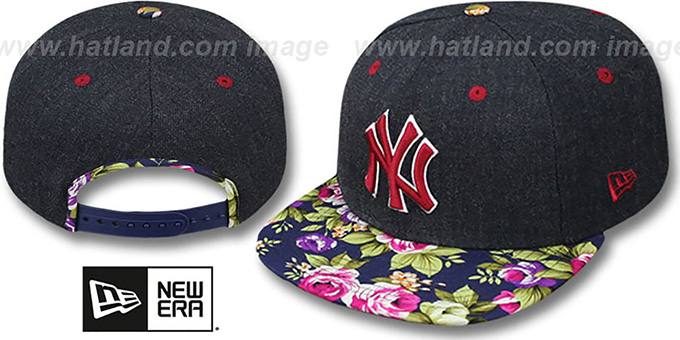Yankees 'HEATHER BLOOM SNAPBACK' Navy Hat by New Era : pictured without stickers that these products are shipped with