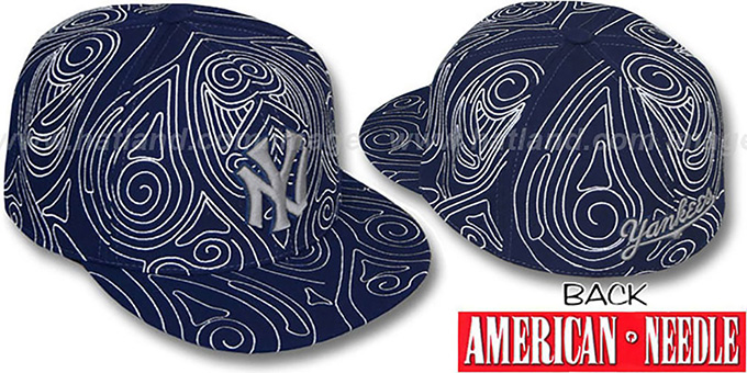 Yankees 'HENNA TATTOO' Navy-Grey Fitted Hat by American Needle : pictured without stickers that these products are shipped with