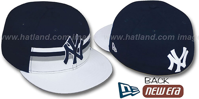 Yankees 'HORIZON' Fitted Hat by New Era : pictured without stickers that these products are shipped with