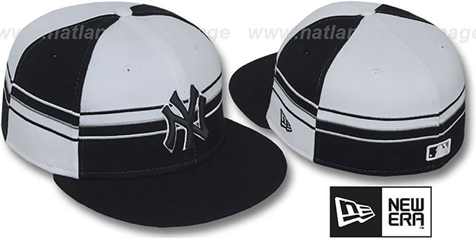 Yankees 'HORIZONTAL WRAP' Black-White Fitted Hat by New Era : pictured without stickers that these products are shipped with