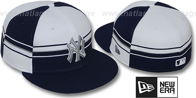 Yankees 'HORIZONTAL WRAP' Navy-White Fitted Hat by New Era : pictured without stickers that these products are shipped with