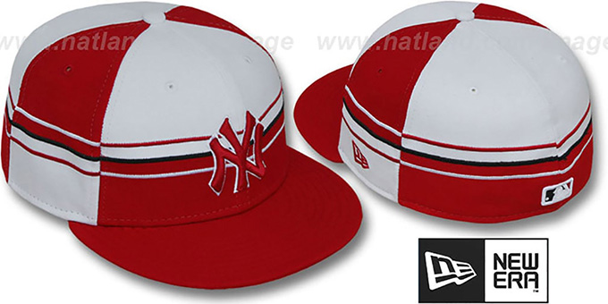 Yankees 'HORIZONTAL WRAP' Red-White Fitted Hat by New Era : pictured without stickers that these products are shipped with