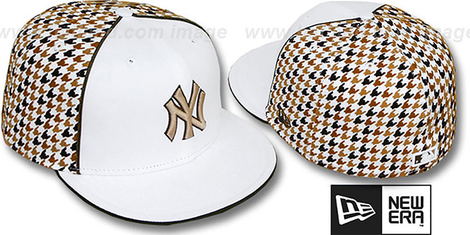 Yankees 'HOUNDSTOOTH' White-Brown Fitted Hat by New Era : pictured without stickers that these products are shipped with