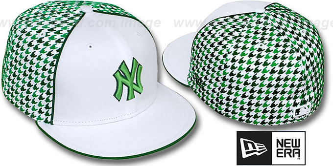 Yankees 'HOUNDSTOOTH' White-Green Fitted Hat by New Era : pictured without stickers that these products are shipped with