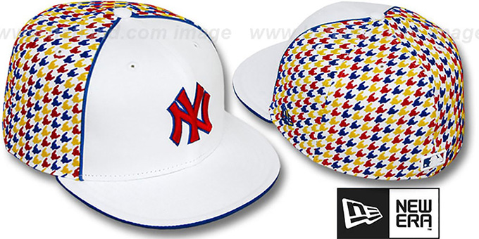 Yankees 'HOUNDSTOOTH' White-Multi Fitted Hat by New Era : pictured without stickers that these products are shipped with