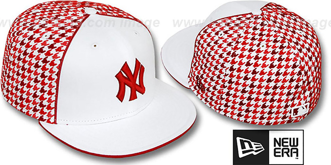 Yankees 'HOUNDSTOOTH' White-Red Fitted Hat by New Era : pictured without stickers that these products are shipped with