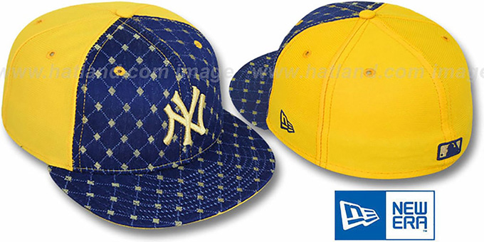 Yankees 'IMPERIAL' Navy-Yellow Fitted Hat by New Era : pictured without stickers that these products are shipped with