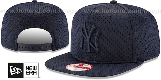 Yankees 'JERSEY MESH TONAL SNAPBACK' Navy Hat by New Era : pictured without stickers that these products are shipped with