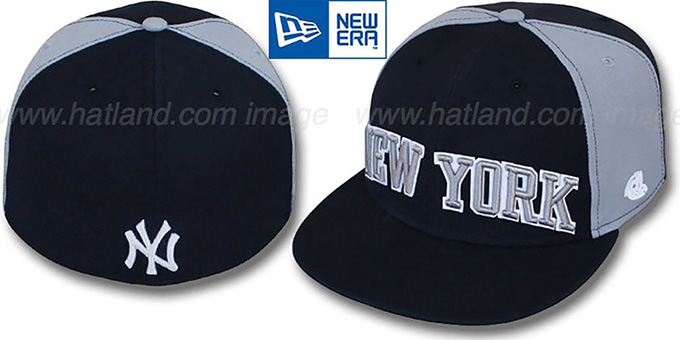 Yankees 'JMACK ARCH' Navy-Grey Fitted Hat by New Era : pictured without stickers that these products are shipped with