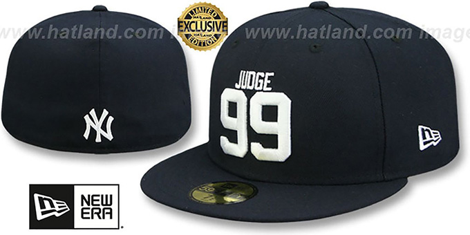 Yankees 'JUDGE 99' Navy Fitted Hat by New Era : pictured without stickers that these products are shipped with