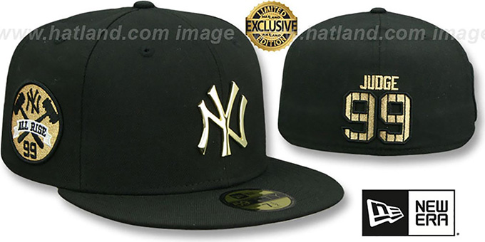 Yankees 'JUDGE ALL RISE GOLD METAL-BADGE' Black Fitted Hat by New Era