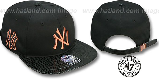 Yankees 'JULIGUNK STRAPBACK' Black-Copper Hat by Twins 47 Brand : pictured without stickers that these products are shipped with