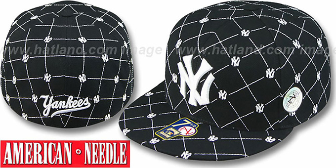 Yankees 'KINGSTON ALL-OVER' Black-White Fitted Hat by American Needle : pictured without stickers that these products are shipped with
