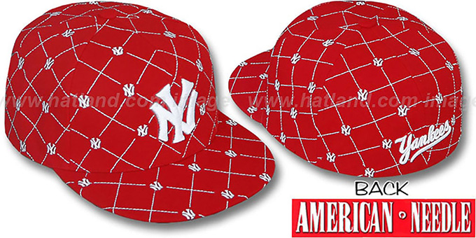 Yankees 'KINGSTON ALL-OVER' Red-White Fitted Hat by American Needle : pictured without stickers that these products are shipped with