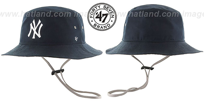 Yankees 'KIRBY BUCKET' Navy Hat by Twins 47 Brand : pictured without stickers that these products are shipped with