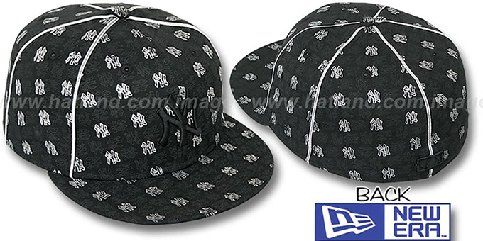 Yankees 'KWAN ALL-OVER FLOCKING' Black-Silver Fitted Hat by New Era : pictured without stickers that these products are shipped with