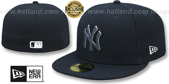 f125106dade New York Yankees LEATHER POP Navy Fitted Hat by New Era