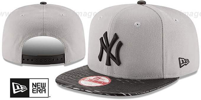 Yankees 'LEATHER-RIP SNAPBACK' Grey-Black Hat by New Era : pictured without stickers that these products are shipped with