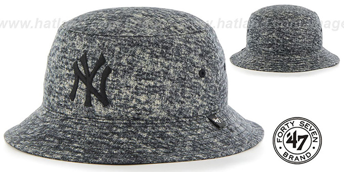 Yankees 'LEDGEBROOK BUCKET' Black Hat by Twins 47 Brand : pictured without stickers that these products are shipped with