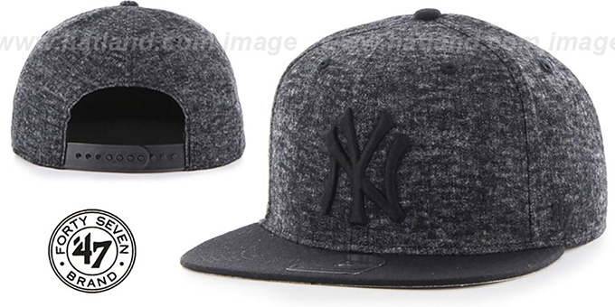 Yankees 'LEDGEBROOK SNAPBACK' Black Hat by Twins 47 Brand : pictured without stickers that these products are shipped with