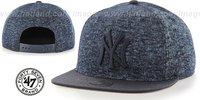 Yankees 'LEDGEBROOK SNAPBACK' Navy Hat by Twins 47 Brand : pictured without stickers that these products are shipped with