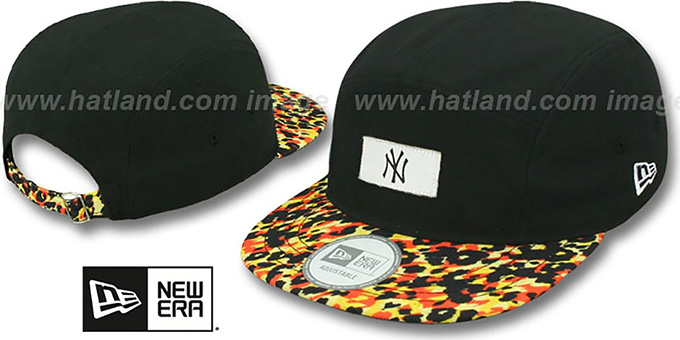 Yankees 'LEOPARD CAMPER STRAPBACK' Black Hat by New Era : pictured without stickers that these products are shipped with