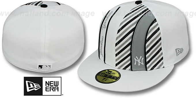 Yankees 'LINEN STRIPE' White-Black Fitted Hat by New Era : pictured without stickers that these products are shipped with