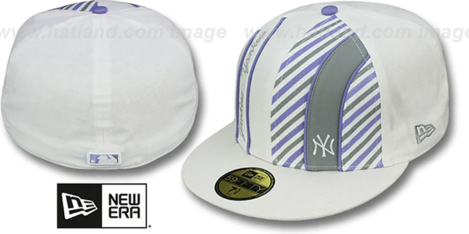 Yankees 'LINEN STRIPE' White-Lavender Fitted Hat by New Era : pictured without stickers that these products are shipped with