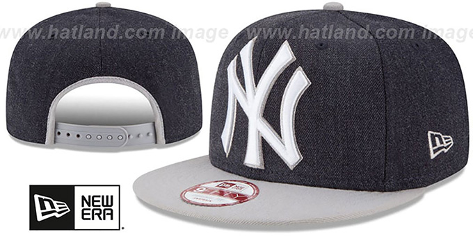 Yankees 'LOGO GRAND SNAPBACK' Navy-Grey Hat by New Era : pictured without stickers that these products are shipped with