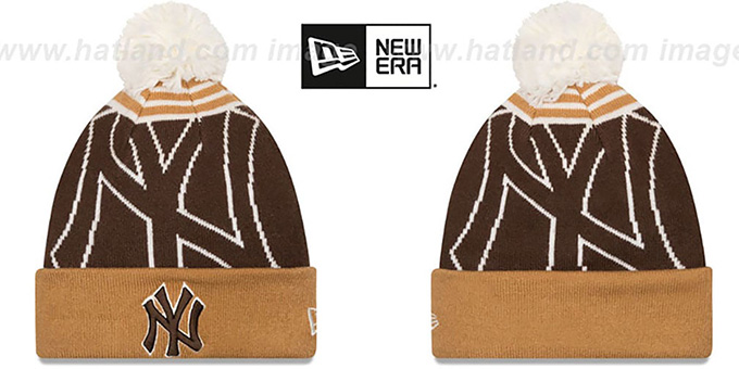 Yankees 'LOGO WHIZ' Brown-Wheat Knit Beanie Hat by New Era : pictured without stickers that these products are shipped with