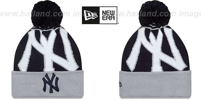 Yankees 'LOGO WHIZ' Navy-Grey Knit Beanie Hat by New Era : pictured without stickers that these products are shipped with