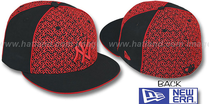 Yankees 'LOS-LOGOS' Black-Red Fitted Hat by New Era : pictured without stickers that these products are shipped with