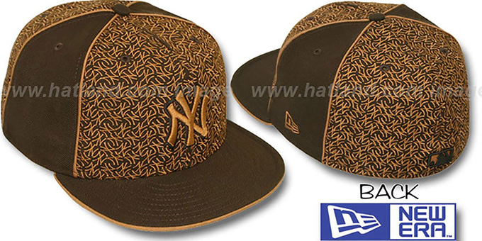 Yankees 'LOS-LOGOS' Brown-Wheat Fitted Hat by New Era : pictured without stickers that these products are shipped with
