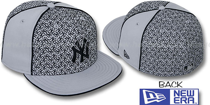 Yankees 'LOS-LOGOS' Grey-Black Fitted Hat by New Era : pictured without stickers that these products are shipped with