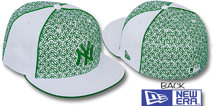 Yankees 'LOS-LOGOS' White-Green Fitted Hat by New Era : pictured without stickers that these products are shipped with