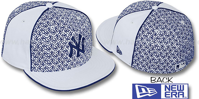 Yankees 'LOS-LOGOS' White-Navy Fitted Hat by New Era : pictured without stickers that these products are shipped with