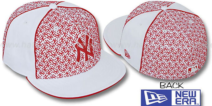 Yankees 'LOS-LOGOS' White-Red Fitted Hat by New Era : pictured without stickers that these products are shipped with