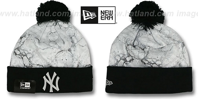 Yankees 'MARBLE' Knit Beanie Hat by New Era : pictured without stickers that these products are shipped with