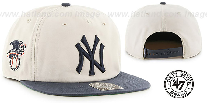Yankees 'MARVIN SNAPBACK' Ivory-Navy Hat by Twins 47 Brand : pictured without stickers that these products are shipped with