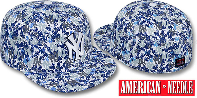 Yankees 'MATISE' White-Team Color Fitted Hat by American Needle : pictured without stickers that these products are shipped with