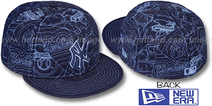 Yankees 'MELTON PUFFY' Navy Fitted Hat by New Era : pictured without stickers that these products are shipped with