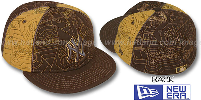 Yankees 'MELTON PUFFY PINWHEEL' Brown-Wheat Fitted Hat by New Era : pictured without stickers that these products are shipped with