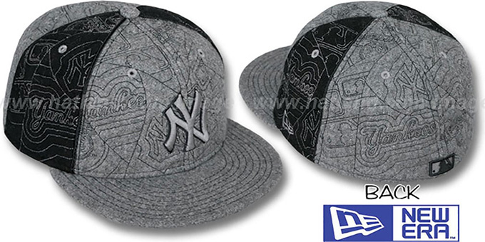 Yankees 'MELTON PUFFY PINWHEEL' Grey-Black Fitted Hat by New Era : pictured without stickers that these products are shipped with