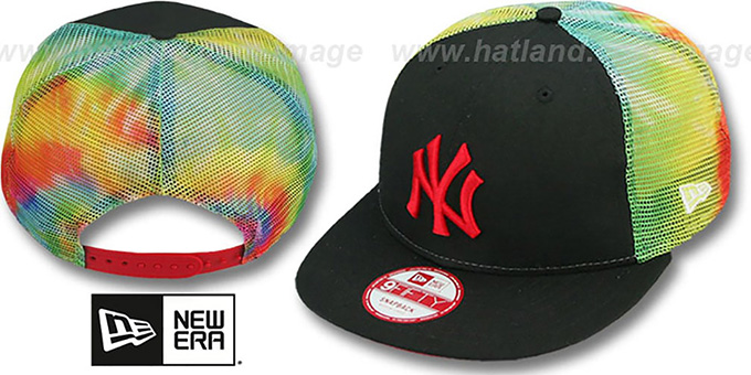 Yankees 'MESH TYE-DYE SNAPBACK' Hat by New Era : pictured without stickers that these products are shipped with