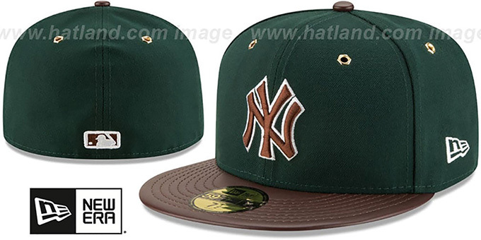 Yankees 'METAL HOOK' Green-Brown Fitted Hat by New Era : pictured without stickers that these products are shipped with