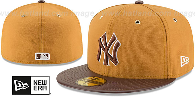 Yankees 'METAL HOOK' Wheat-Brown Fitted Hat by New Era : pictured without stickers that these products are shipped with